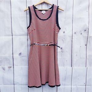 Beige by ECI Striped Fit & Flare Dress Size 14